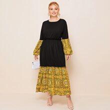 Maxi Kleid mit Schal Muster und Kontrast Rueschenbesatz