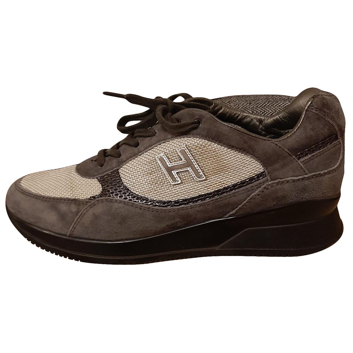 Hogan - Baskets   pour femme en suede - gris