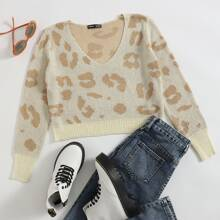 V Neck Leopard Crop Sweater