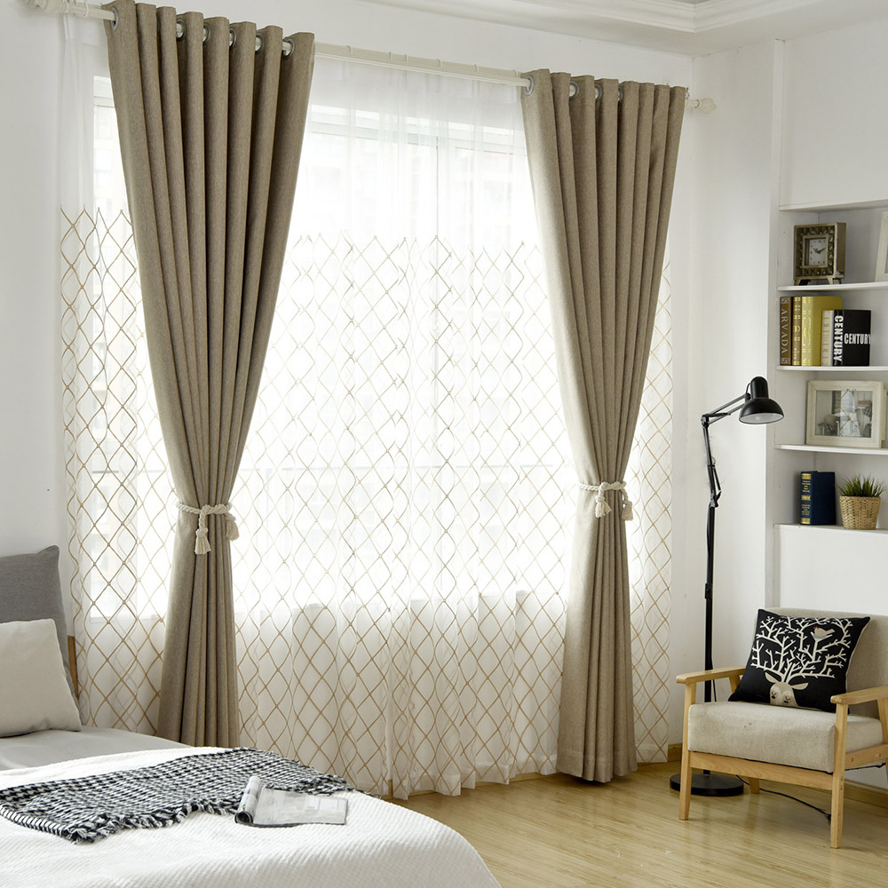 Modern Pastoral Geometric Custom Living Room Sheer Curtains Breathable Voile Drapes Never Fading Cracking Peeling or Flaking