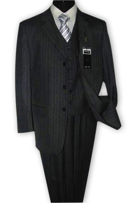 Alberto Nardoni 3 Button Vested Suits 1Wool Suits Vested Charcoal Grey