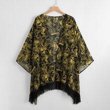 Plus Paisley Print Fringe Hem Kimono