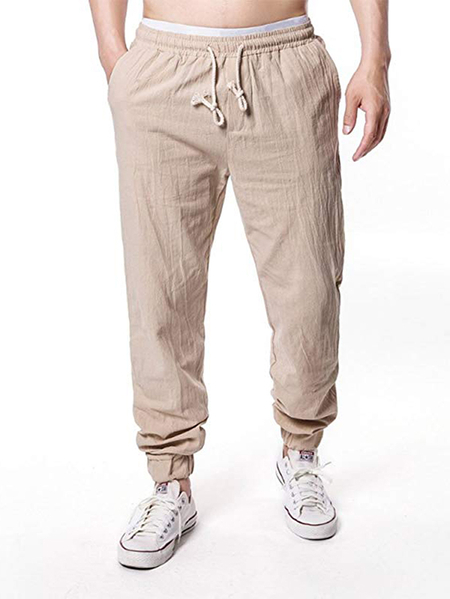 Yoins Men Summer Breathable Cotton Linen Casual Pocket Drawstring Pants