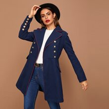 Contrast Trim Notched Collar Buttoned Front Pea Coat