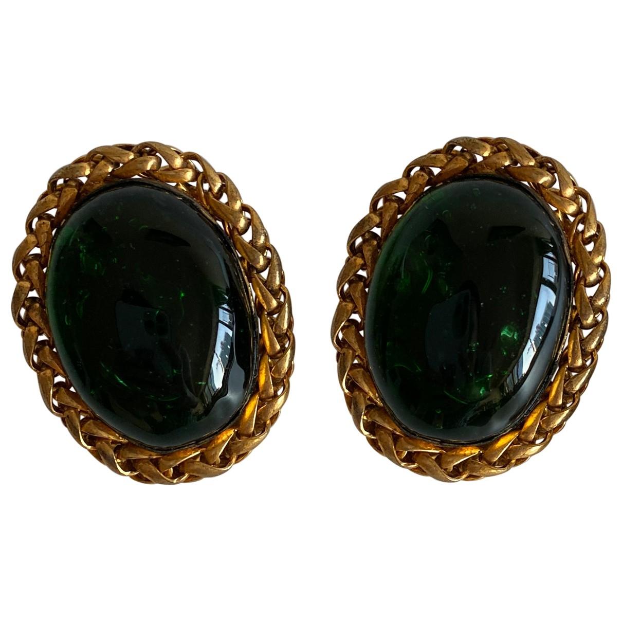 Chanel - Boucles doreilles Gripoix pour femme en metal - vert