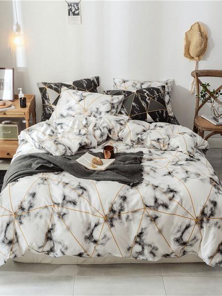 Milanoo Bedding Set 3-Piece Cotton White Beddingroom Supplies Bed Sheet Duvet Cover Pillowcase