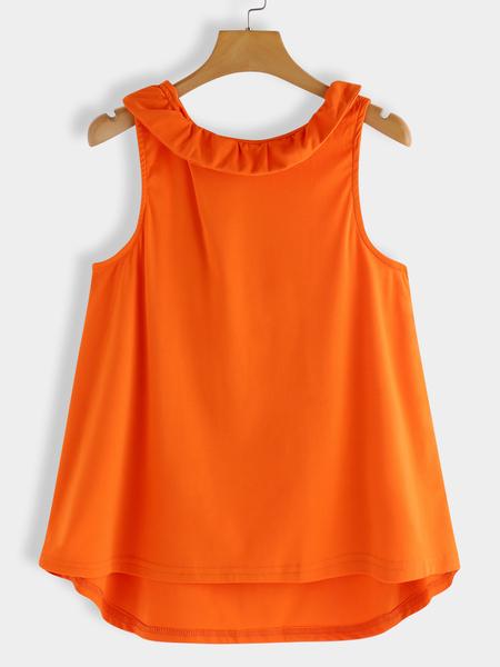Yoins Orange Bowknot Back Design Sleeveless Top