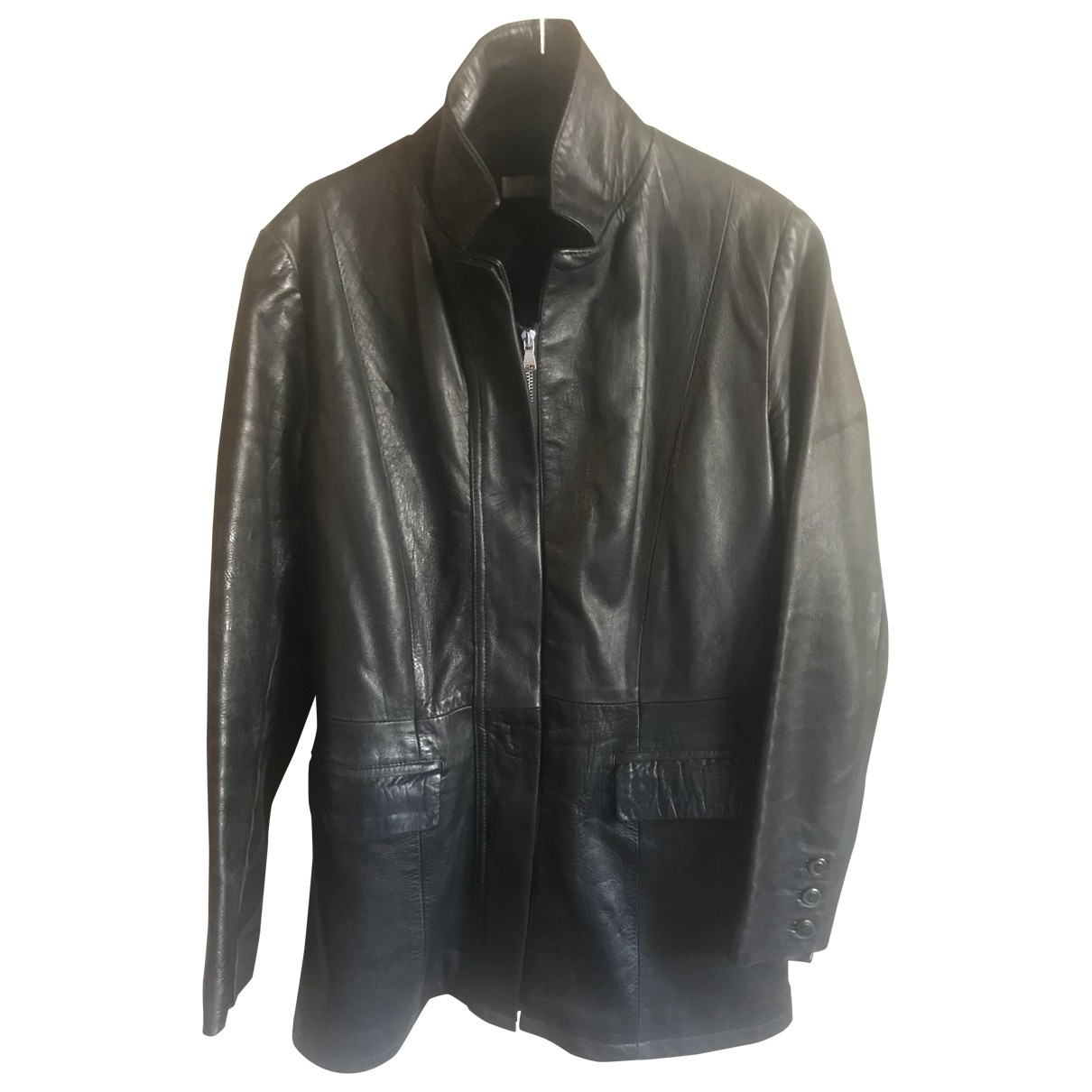 Pinko \N Black Leather Leather jacket for Women 42 IT