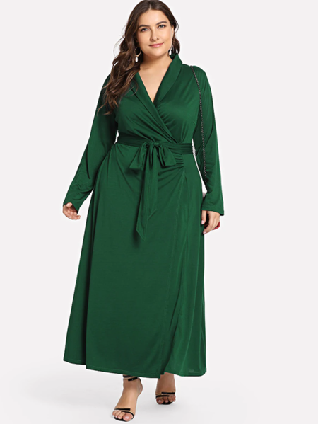 Yoins Plus Size Green V Neck Long Sleeves Wrap Dress With Belt