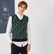 Pullover Weste mit Buchstaben Muster