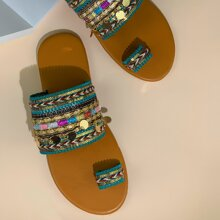 Sandalen mit Zehenpartie und Farbblock