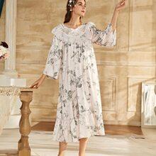 Lace Panel Floral Print Ruffle Hem Night Dress