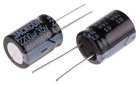 RS PRO 2200μF Electrolytic Capacitor 35V dc, Through Hole (5)