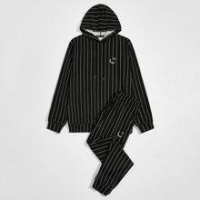 Hoodie mit Grafik Muster, Streifen, Kordelzug & Hose Set