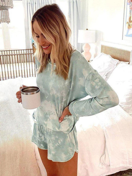 Milanoo Women\'s Loungewear 2-Piece Green Jewel Neck Long Sleeve Polyester Cotton 3D Print Outfit Home Wear