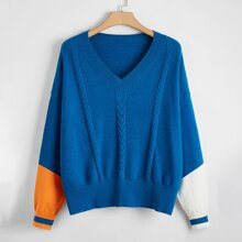 Plus Cable Knit Colorblock Sweater
