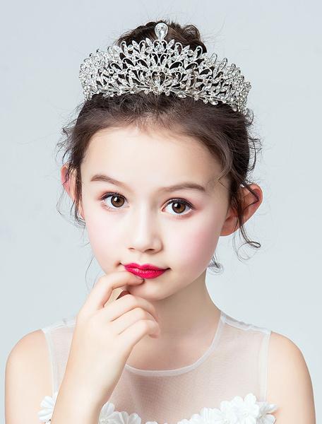 Milanoo Tiara Flower Girl Headpieces Rhinestones Royal Crown Hair Accessories For Kids