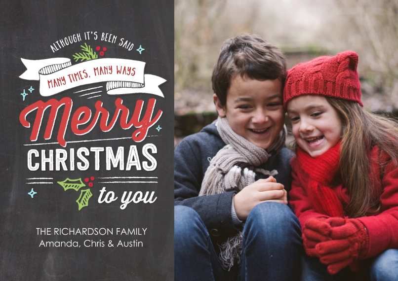 Christmas Photo Cards 5x7 Cards, Premium Cardstock 120lb, Card & Stationery -Christmas Festive Banner