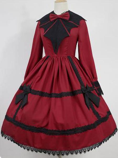 Milanoo Vestido gotico Lolita OP Collar puntiagudo de encaje Vestidos de una pieza de Lolita negro