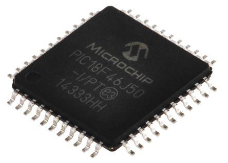 Microchip PIC18F46J50-I/PT, 8bit PIC Microcontroller, PIC18F, 48MHz, 64 kB Flash, 44-Pin TQFP