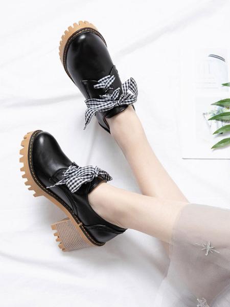 Milanoo Sweet Lolita Footwear Lace Up PU Leather Chunky Heel Lolita Pumps