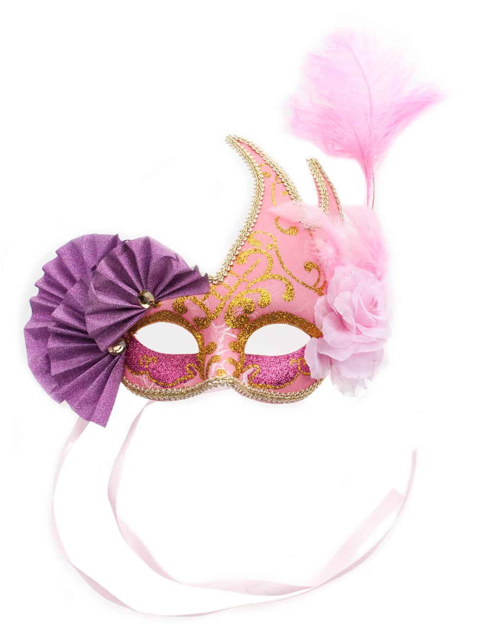 Kostuemzubehor Federmaske Venezia pink/lila