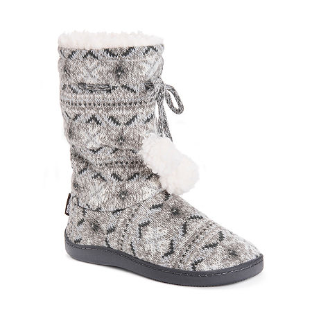 Muk Luks Gladys Womens Bootie Slippers, X-large , Gray