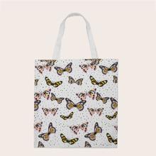 Allover Butterfly Print Shopper Bag