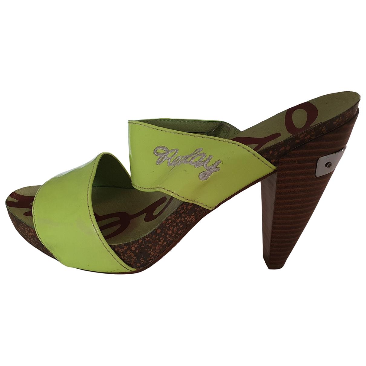 Replay - Sabots   pour femme en cuir - vert