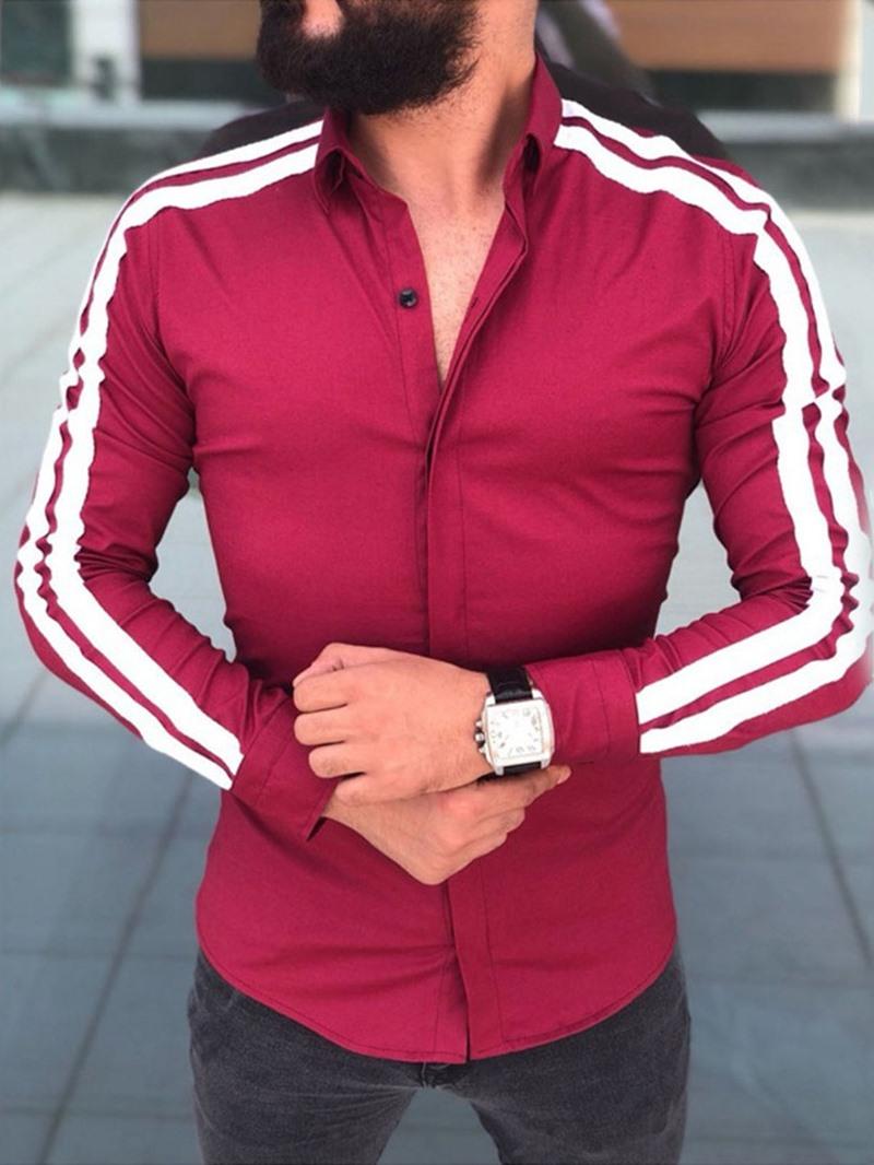 Ericdress Lapel Color Block Casual Single-Breasted Mens Slim Shirt