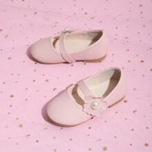 Toddler Girls Faux Pearl & Flower Decor Flats