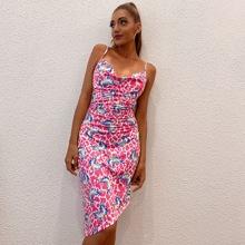 D&M vestido de espalda abierta con cordon con estampado de mariposa de leopardo