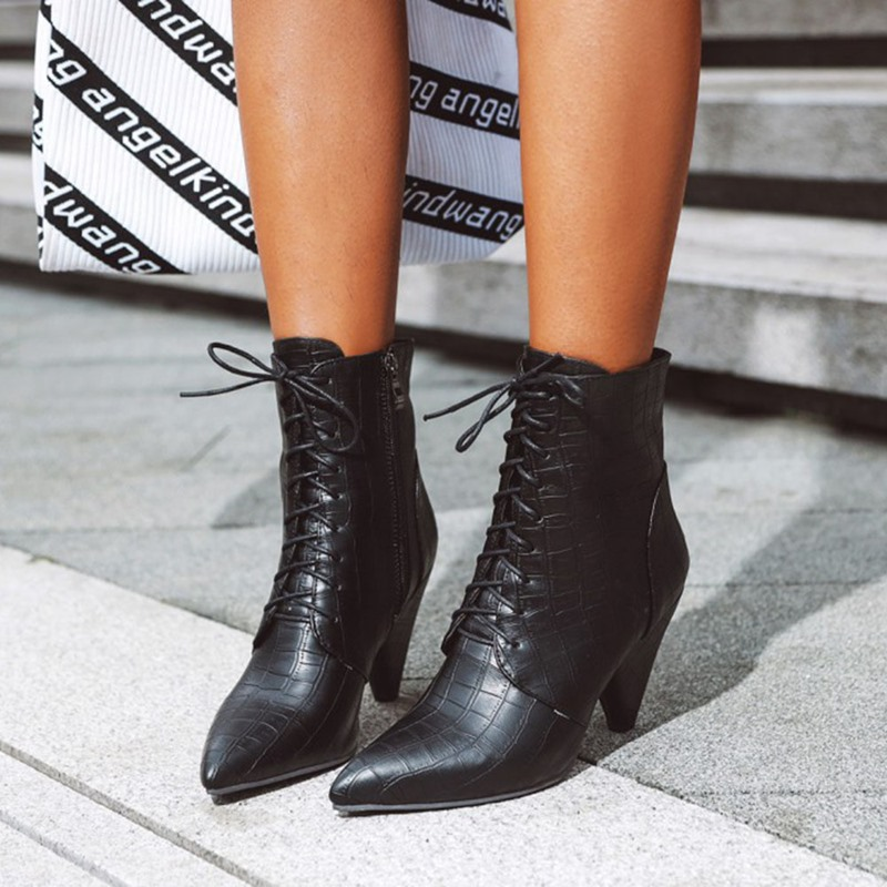 Ericdress Pointed Toe Plain Side Zipper Western Boots