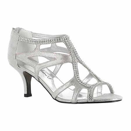 Easy Street Womens Flattery Pumps Spike Heel, 7 Medium, Silver