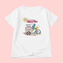 Toddler Girls Letter & Cartoon Graphic Tee