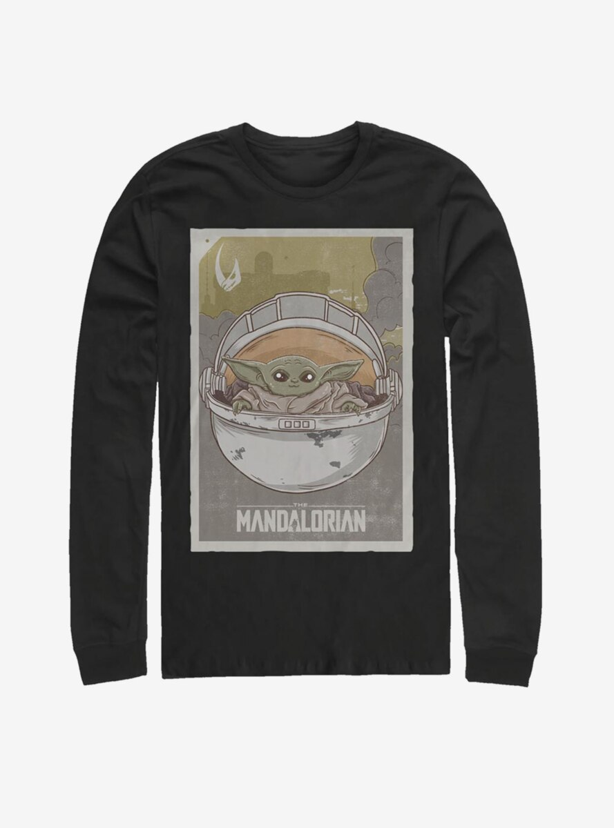 Star Wars The Mandalorian The Child Vintage Poster Long-Sleeve T-Shirt
