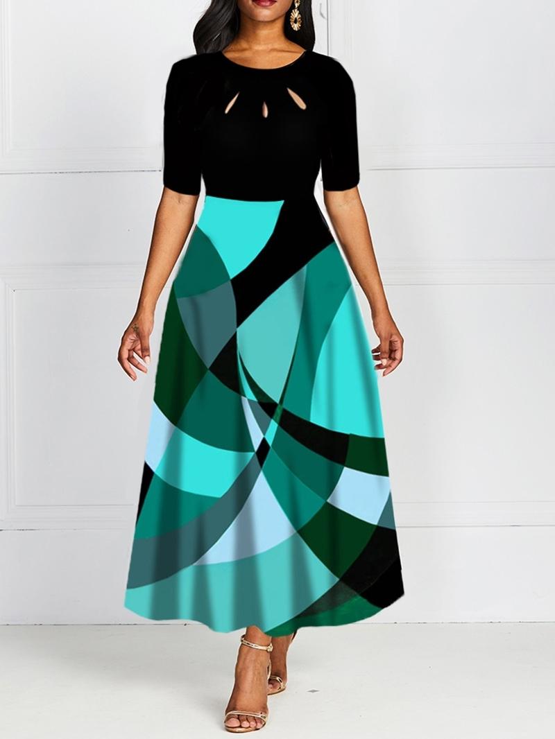 Ericdress Round Neck Hollow Ankle-Length Regular A-Line Women's Dress