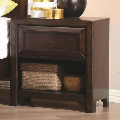 Greenough Collection 400822 23 Nightstand with 1 Drawer  1 Shelf  Finger Tip Drawer Pulls  Asian Hardwood and China Maple Veneer Construction in
