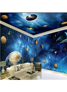 Blue Dreamy Starry Sky and Planets Pattern Combined 3D Ceiling Murals and Wall Murals