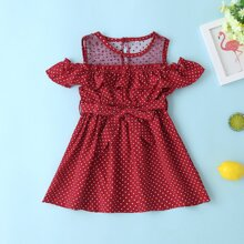 Toddler Girls Polka Dot Cold Shoulder Mesh Yoke Dress