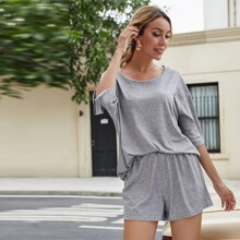 Solid Oversized Tee With Shorts