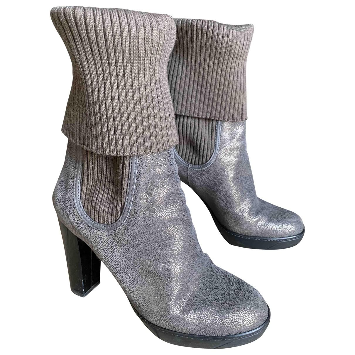 Hogan - Bottes   pour femme en cuir - beige