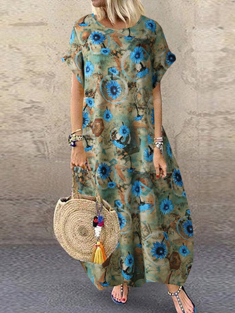 Vintage Floral Print Short Sleeve Plus Size Dress