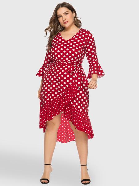 Yoins Plus Size Red Polka Dot Belt Design Dress