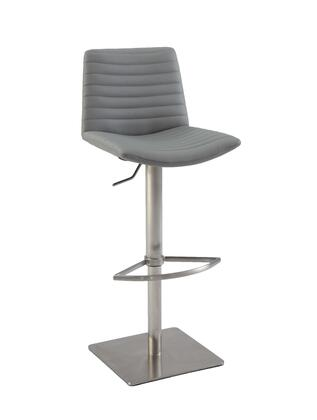 0572-AS-Grey Ribbed Back And Seat Pneumatic Stool in