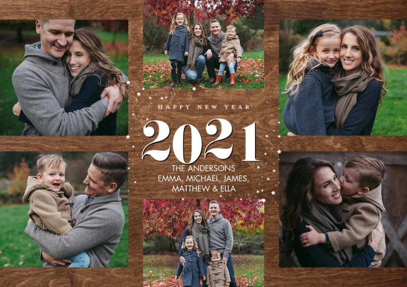 New Year's Photo Cards 5x7 Cards, Premium Cardstock 120lb with Elegant Corners, Card & Stationery -2021 New Year Collage by Tumbalina