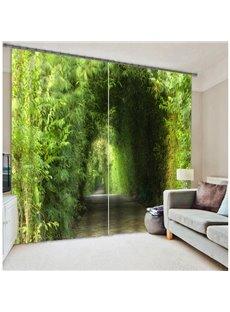 3D Green Trees Corridor Printed Natural Scenery Custom Decorative Curtain for Living Room