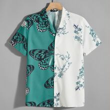 Men Butterfly and Plants Print Two Tone Shirt