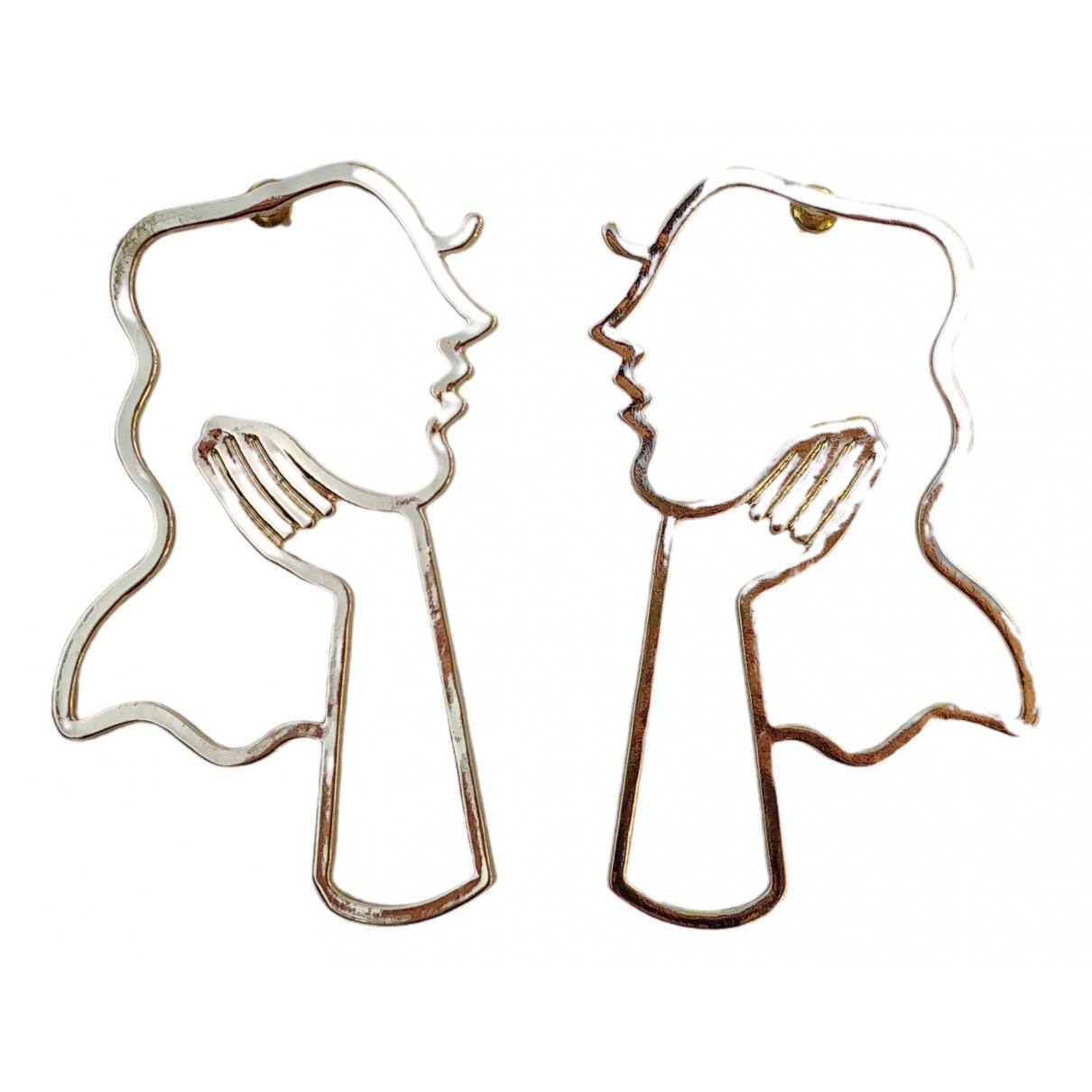 - Boucles doreilles   pour femme en metal - dore
