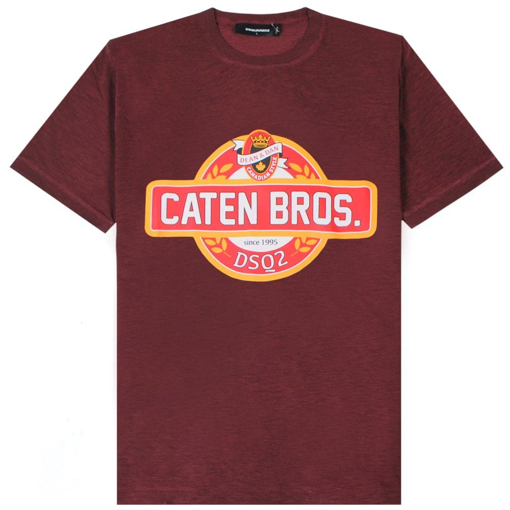 Dsquared2 Caten Bros Logo T-Shirt Colour: BURGUNDY, Size: EXTRA LARGE